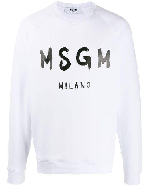 メンズ MSGM Milano ロゴ スウェットシャツ White
