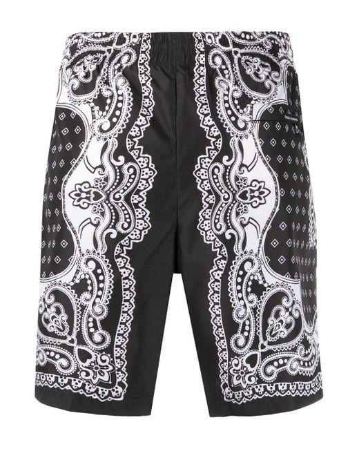 Dolce & Gabbana Men's Black Bandana Print Swim Shorts