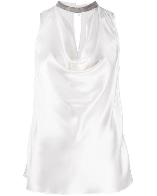 Драпированный Топ С Декором Monili Brunello Cucinelli, цвет: White