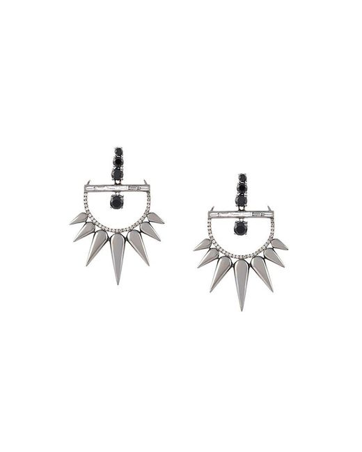 Elise Dray - Metallic Diamond Drop Spiked Earrings - Lyst