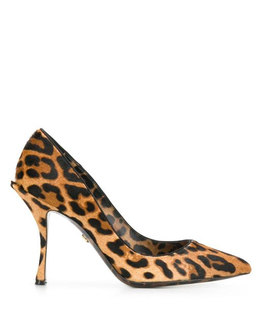 Dolce & Gabbana Lori ヘアカーフ レオパードプリントパンプス 90mm Brown