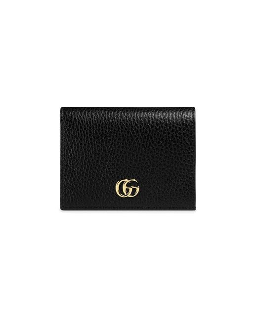 Gucci 【公式】 (グッチ)〔GG マーモント〕 レザー カードケース(コイン&紙幣入れ付き)ブラック レザーブラック Black