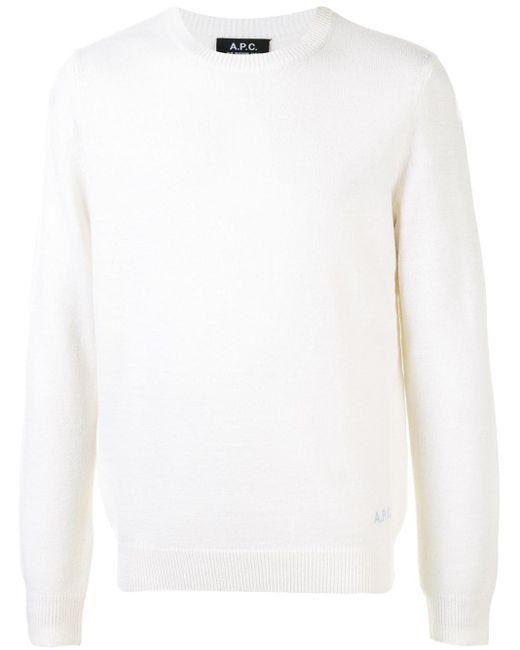 Jersey con logo bordado A.P.C. de hombre de color White
