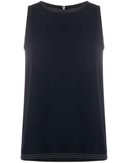 Alberto Biani Top sin mangas con detalles cosidos de mujer de color azul vPEoZ