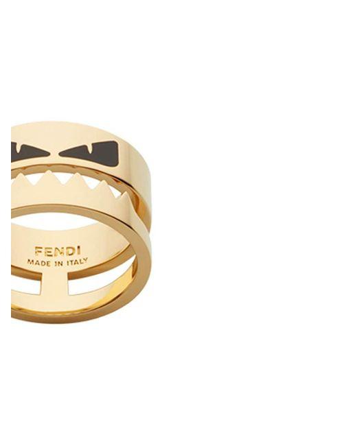 Fendi Metallic Bag Bugs Ring for men