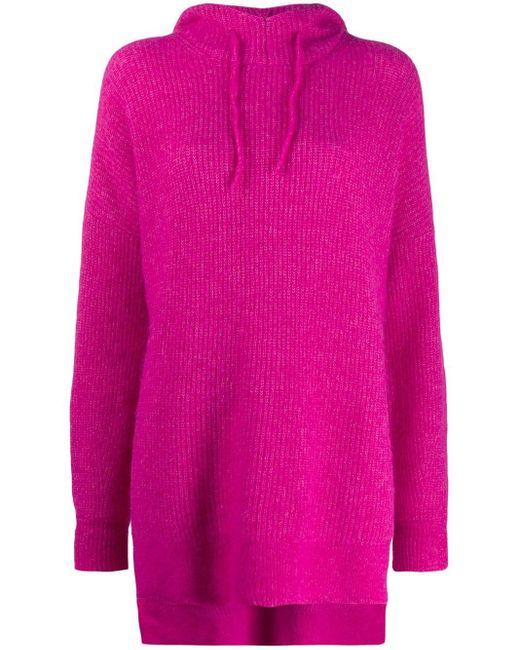 Ganni オーバーサイズ ニットパーカー Pink