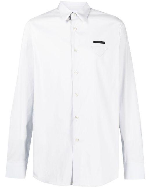 Prada Hemd mit dreieckigem Patch in Gray für Herren
