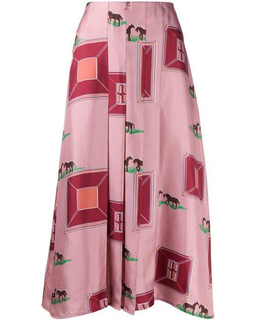 Victoria Beckham シルク プリントスカート Pink