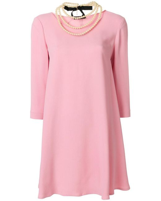 Twin Set - Pink Pearl Necklace Detail Dress - Lyst