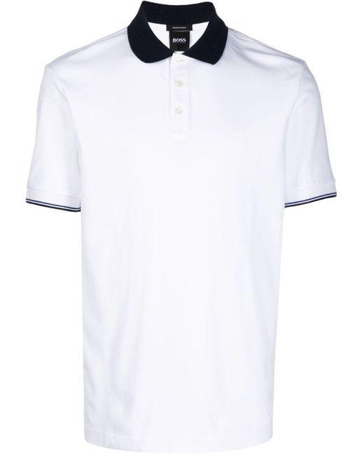 メンズ BOSS by Hugo Boss コントラストカラー ポロシャツ White