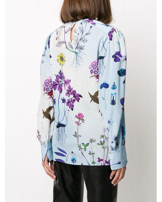 Блузка С Цветочным Принтом Stella McCartney, цвет: Blue