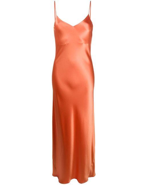 Galvan サテン スリップドレス Orange