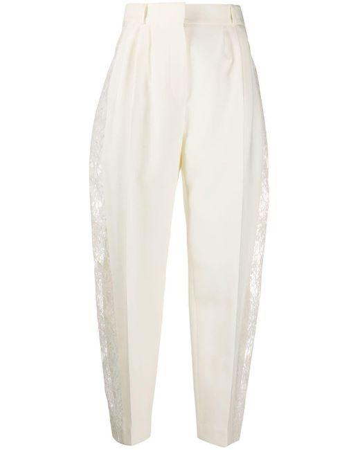 Строгие Брюки С Кружевными Вставками Alexander McQueen, цвет: White