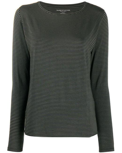 Majestic Filatures ストライプ ロングtシャツ Black