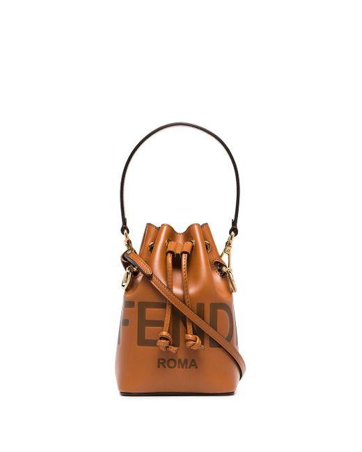Маленькая Сумка-ведро Mon Tresor Fendi, цвет: Brown