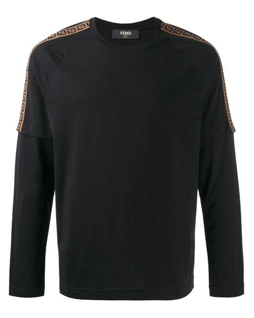 メンズ Fendi レイヤード ロングtシャツ Black