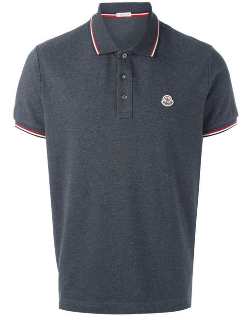 Moncler Short Sleeve Polo Shirt In Grey For Men Lyst
