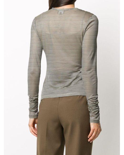 Giorgio Armani ストライプ ロングtシャツ White