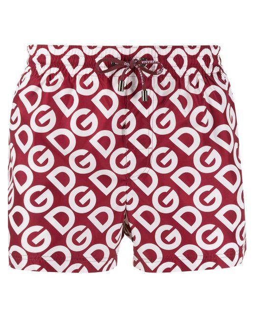 メンズ Dolce & Gabbana ロゴ トランクス水着 Red