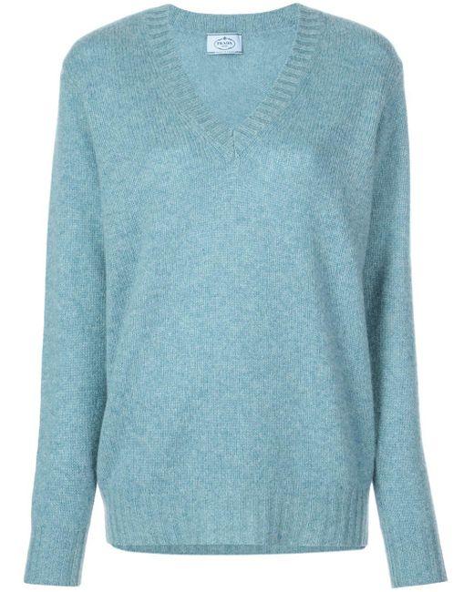 Prada カシミア Vネックセーター Blue