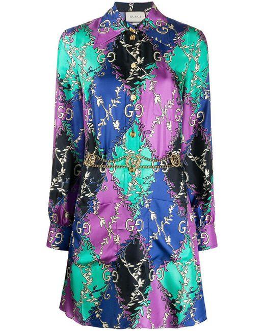 Gucci GG ランバス Ramage シャツ ドレス Multicolor