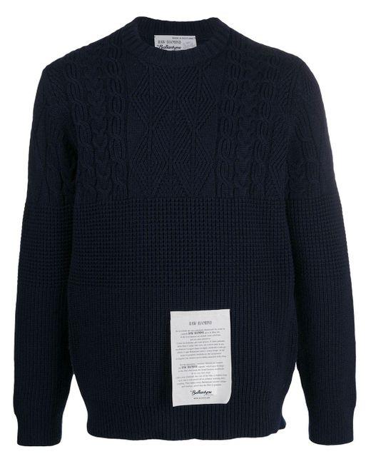 メンズ Ballantyne ロゴパッチ カシミア セーター Blue