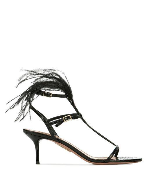 Sandalias con detalles de plumas Aquazzura de color Black