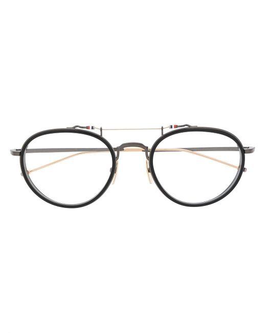 Thom Browne ラウンド眼鏡フレーム Metallic