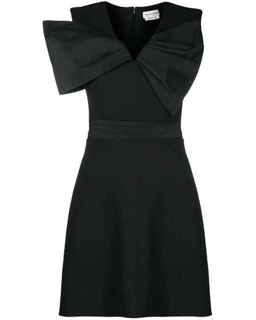 Alexander McQueen Black Oversize Bow-detail Mini Dress