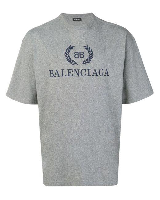 メンズ Balenciaga Bb ロゴ Tシャツ Gray