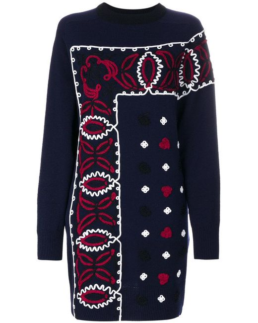 Sacai - Blue Embroidered Dress - Lyst