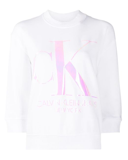 Calvin Klein White Sweatshirt mit Logo-Print