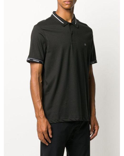 メンズ Calvin Klein ロゴ ポロシャツ Black