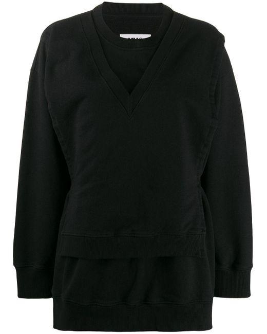 MM6 by Maison Martin Margiela レイヤード スウェットシャツ Black