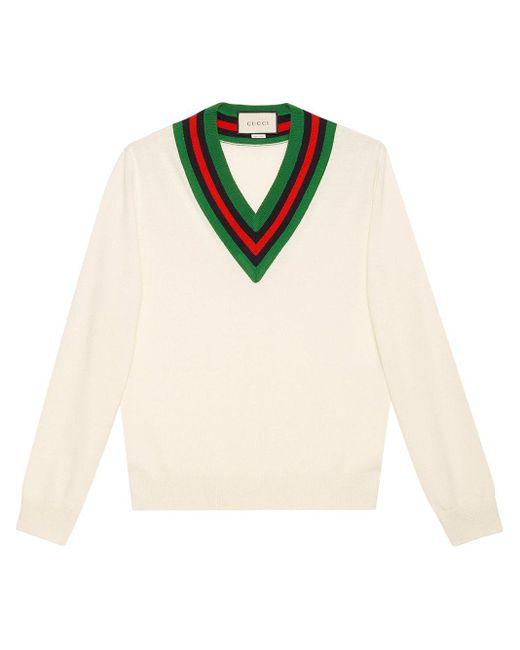メンズ Gucci 【公式】 (グッチ)vネック ウールニットセーターホワイト ウールホワイト White