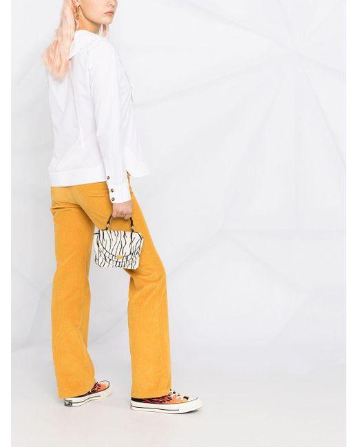 Блузка С Оборками На Воротнике Ganni, цвет: White