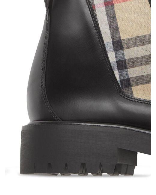Botas chelsea con motivo Vintage Check Burberry de color Black