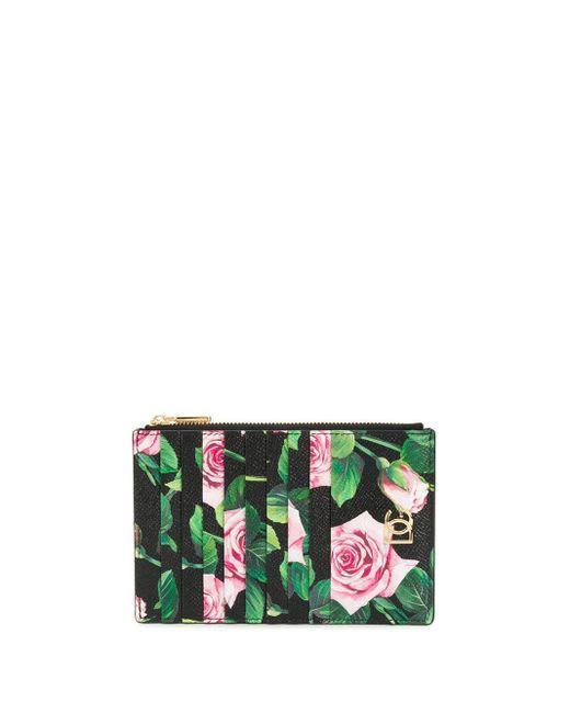 Porte-cartes à fleurs Dolce & Gabbana en coloris Black