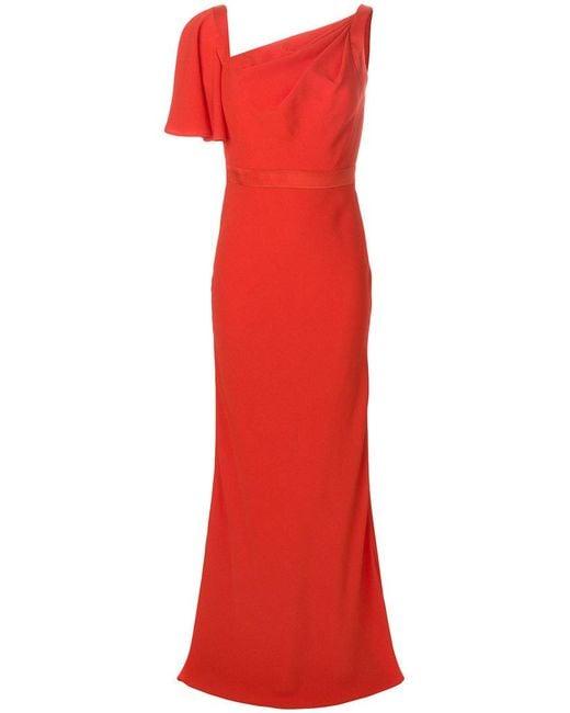 Alexander McQueen - Red Asymmetric Neck Gown - Lyst