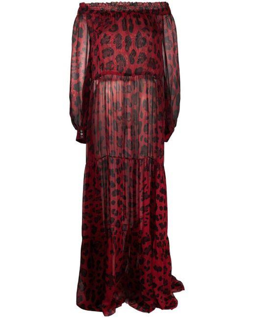 Philipp Plein レオパード オフショルダー ドレス Red