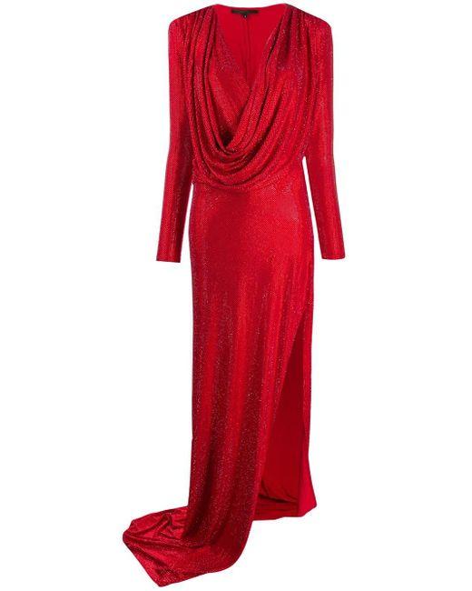 Philipp Plein ロングスリーブ ラップドレス Red