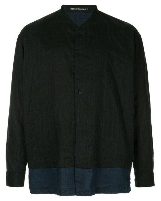 メンズ Issey Miyake パネル ノーカラーシャツ Black