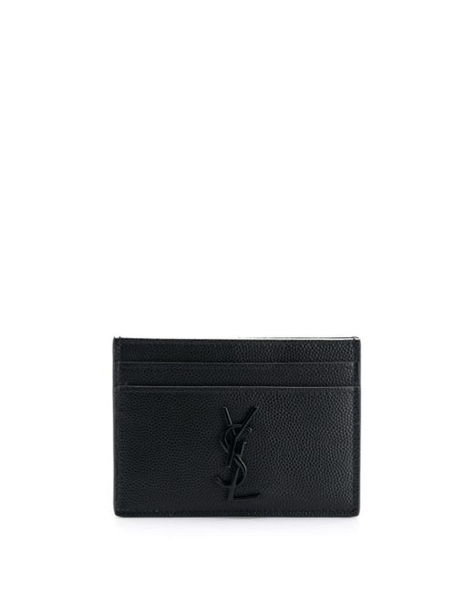 Saint Laurent Black Logo Plaque Cardholder for men