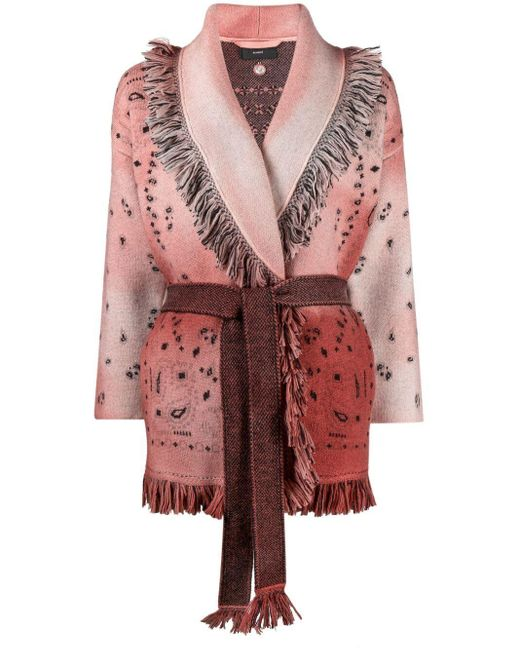 Alanui Pink Intarsia-knit Cardi-coat