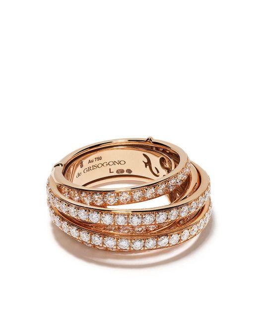 Bague multi-rangs en or rose 18ct à ornements en diamant De Grisogono en coloris Metallic