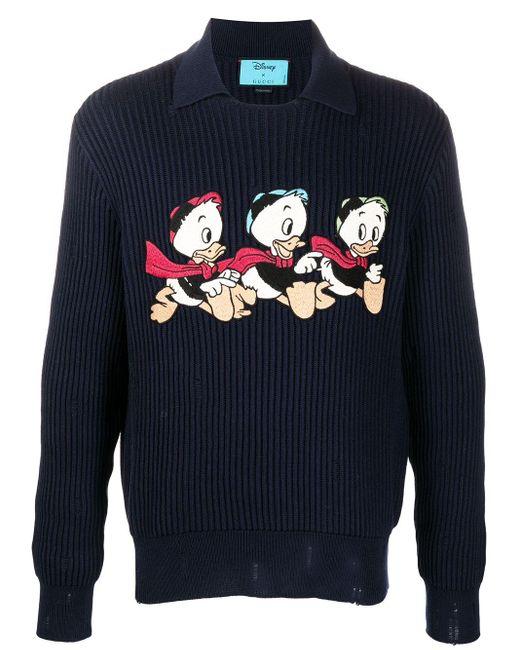 Jersey de lana y algodón Donald Duck Disney x Gucci de hombre de color Blue