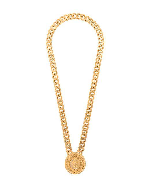 Collana Medusa con medaglia di Versace in Metallic da Uomo