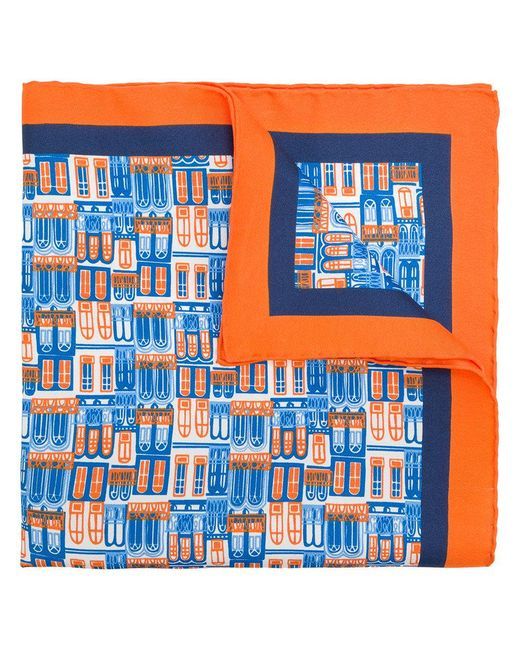 Kiton - Blue Windows Print Scarf for Men - Lyst