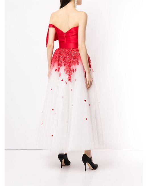 Saiid Kobeisy フローラル ドレス Red