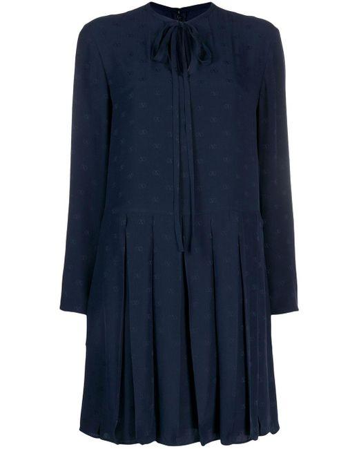 Valentino タイネック シフトドレス Blue